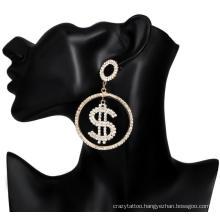 Trendy Stunning Rhinestone Gems Hollow Shiny CZ Dollar Sign Hoop Earrings
