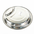 durável 2 polegadas de aço inoxidável 2 compartimento prato redondo dividido prato