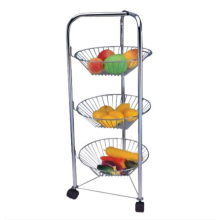 Three-layer stainless steel cart for kitchen