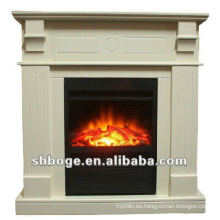 Portátil / insertar interior chimenea decorativa crema eléctrica (con mantel)