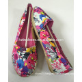 Cheap price floral printing canvas shoes women flat heel casual shoe