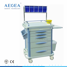 Cheap price AG-AT007B3 five drawers ABS anesthesia trolley
