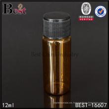 Frasco de vidrio ámbar pequeño de 12 ml con tapa negra