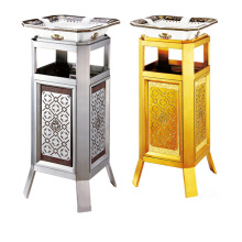 Stainless Steel Dustbin with Ashtray for Hotel/Office Lobby (YW0076)