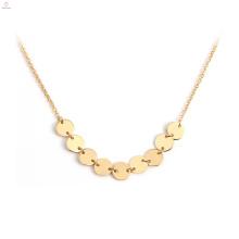 Edelstahl Modeschmuck Choker Kette 18K Gold Münze Anhänger Halskette