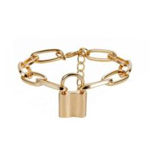 Wristband Women Jewelry Punk Heart Lock Chain Bracelet Women Charm Padlock Bangle