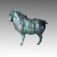 Escultura de bronce de los animales Estatua de cobre amarillo del caballo de la dinastía de espiga Tpal-151