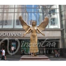 decoración del jardín al aire libre artesanía de metal bronce estatua del ángel alado