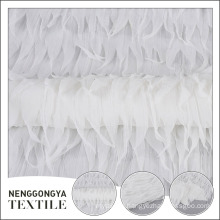 Factory supplier 100% polyester wedding dress mesh fabric with tassel