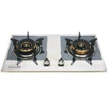 2 Queimador Cor Coated painel de aço inoxidável fogão a gás