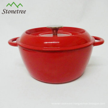Cast Iron Red Enamel Covered Round Dutch Oven Cooking Dish