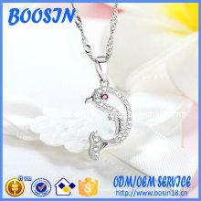 Factory Custom Zircon Dolphin Pendant Necklace for Wholesale