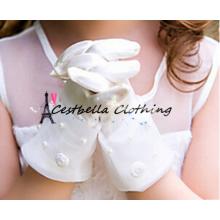 Guantes de novia de encaje para las niñas Guantes de niñas de flores lindos Guantes de boda hechos a mano para niños