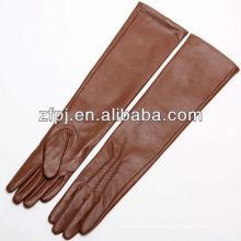 ZF100 piel de oveja señoras color marrón largo cuero oprea guantes