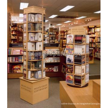 Im Laden Einzelhandel Befestigung Boden Standing Rotating Hölzerne Bibliothek Kinder Buch Display Stand