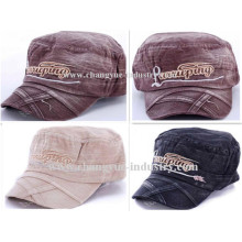 Washed jeans cotton embroidery flat military cap hat