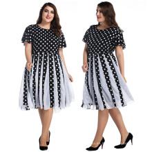 Vestido de bola retro de las mujeres elegantes vestidos hasta la rodilla en blanco y negro puntos de gasa de burbuja más vestidos de tamaño