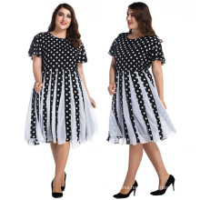 Retro women ball gown elegant knee-length dresses black and white dots bubble chiffon plus size dresses