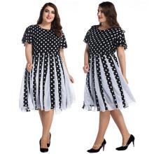 Ретро женщин бальное платье элегантный длиной до колен платья черный и белый горошек пузырь шифон плюс Размер платья
