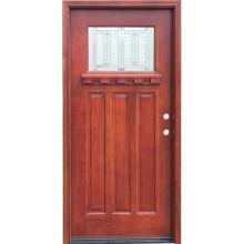 1 Lite Stained Mahogany Wood Prehung Front Door
