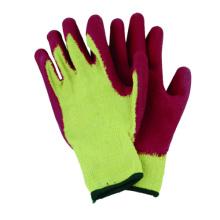10g T / C guante de forro de punto con látex recubierto CE guante