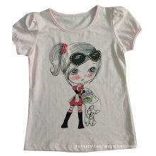 La camiseta de los niños de la muchacha preciosa de moda en los niños usan ropa Sgt-084