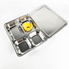 assiettes en acier inoxydable, plateau à manger en quatre parties