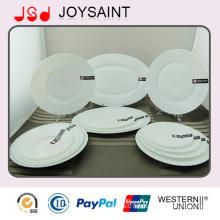 Assiette plate de vaisselle de verrerie d'Opale de conception de mode