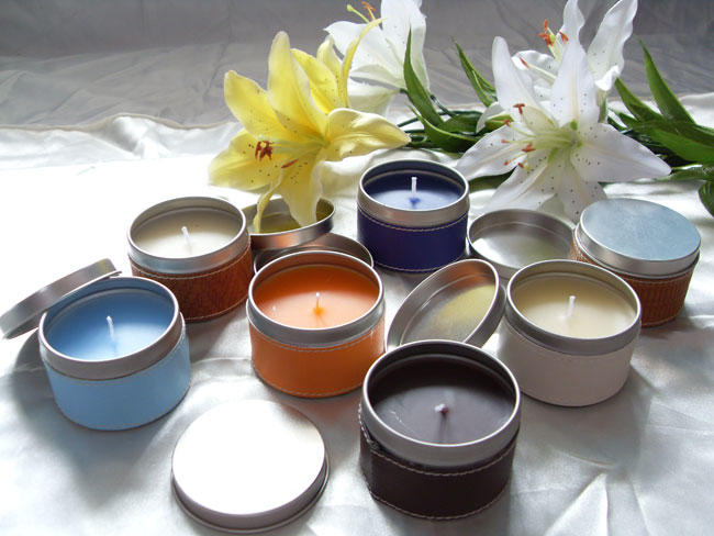 tin candle with different fragrance