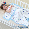 2018 Best selling comfortable 110x110cm gauze cotton 6 layer baby muslin blanket