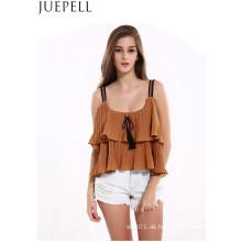 Europäische und amerikanische Frauen neue Sommer Solid Color Top laminiert Volants Falten Verband trägerlosen Harness kleine Shirt Frauen Weste Bluse