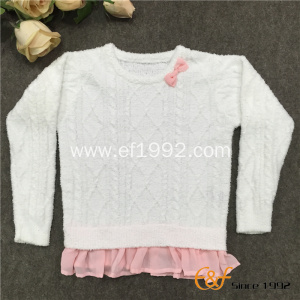 Falbala Long Sleeves Special Cable Pattern Sweater for Girl