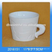 High quality white ceramic horse mug for wholesale ,porcelain horse mug.ceramic animal mug