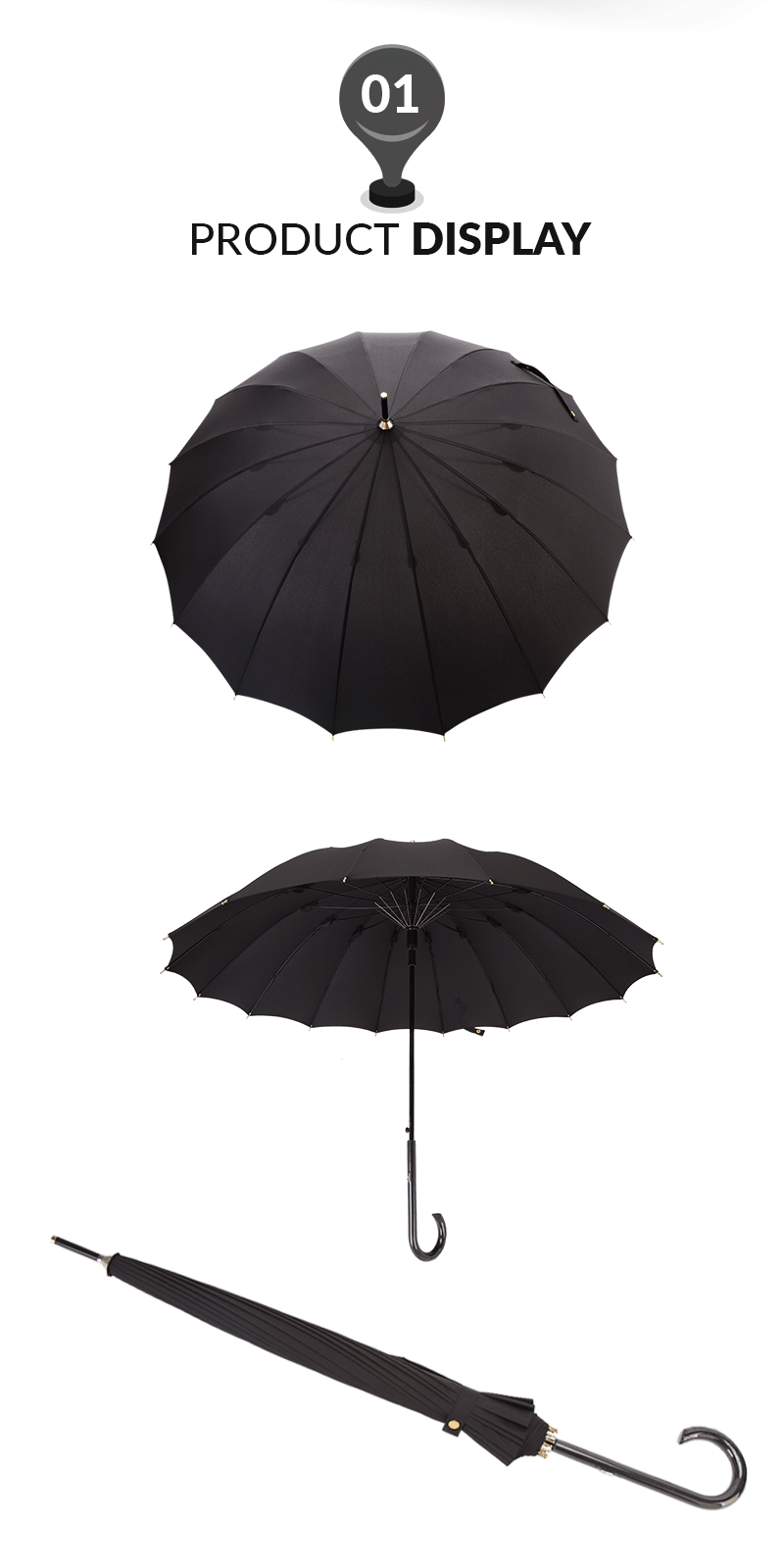 55cm 16ribs Auto Open Womens Straight Umbrella Black Color