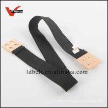 Heißer Verkaufs-Schwarzes mit Goldniet-Wölbungs-Dame Art und Weise elastischer Taillen-Gurt