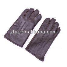 Homens moda patente grande mão luvas de couro em marrom