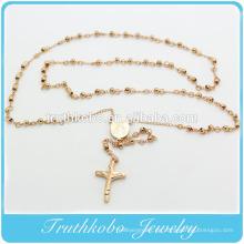 4MM Rosenkranz Perlen religiöse Rosenkranz Halskette mit Mary Charm und Jesus Kreuz für Christus