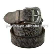 Cinturón de cuero genuino de los hombres con la hebilla plateada antigua de la aleación plateada