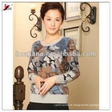 Pulôver de camisola de caxemira feminina de impressão elegante