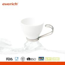 Nova caneca de café cerâmica personalizada branca e preta com alça