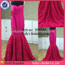 Real-made Mermaid rose flower sexy red evening long dresses 2015 lace wedding dresses closed back wedding gowns mermaid dresses