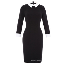 Kate Kasin Women's Long Sleeve Contrast Color Formal Bodycon Pencil Dress KK000221-1