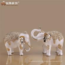 Decoración de Navidad blanco y plata / rosa de oro bebés elefante decoración con material de resina para la decoración del armario de TV