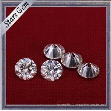Forme ronde couleur blanche 6,5 mm 1 carat brillant diamant Moissanite Cut