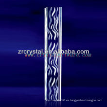 Cristal grabado en agua con láser 3D K9 con forma de pilar