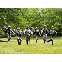 Garden Life Size Brass Playing Children Sculpture