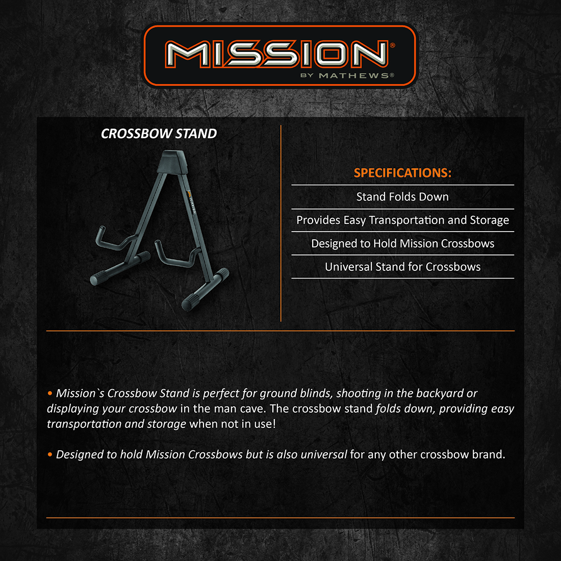 Mission Crossbow Stand Product Description