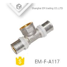 EM-F-A117 NIckel banhado a latão feminino tee compressão encaixe de tubulação