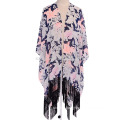 Fashion ladies floral print polyester fringe scarf