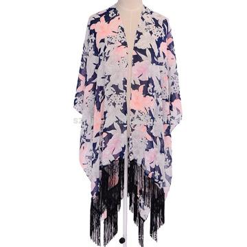 Moda senhoras floral impressão poliéster franja lenço